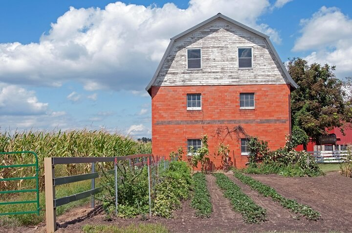 Amish Brick Barn and Garden
