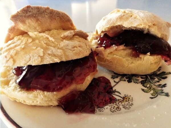Biscuits on a Plate with Jelly