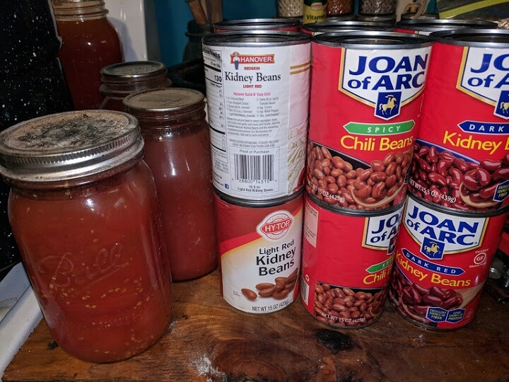 Cans of Beans for Chili
