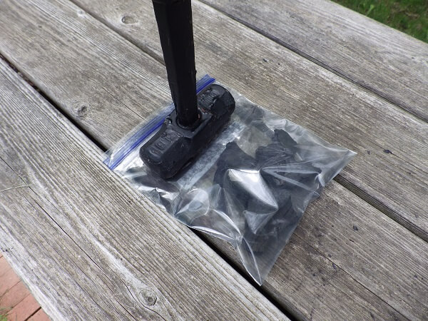 Charcoal in 2 Plastic Bags Before Hammering for First Breakup