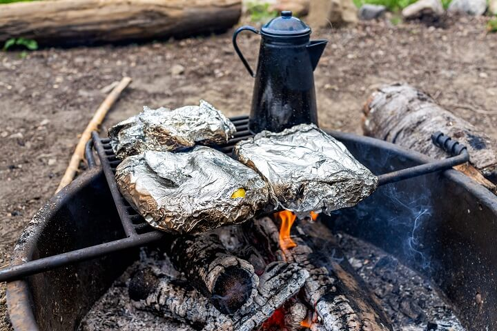 Foil-Wrapped Vegetables Over Fire