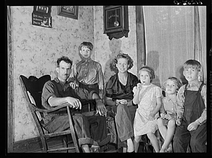 Great Depression Family Posing For Photo