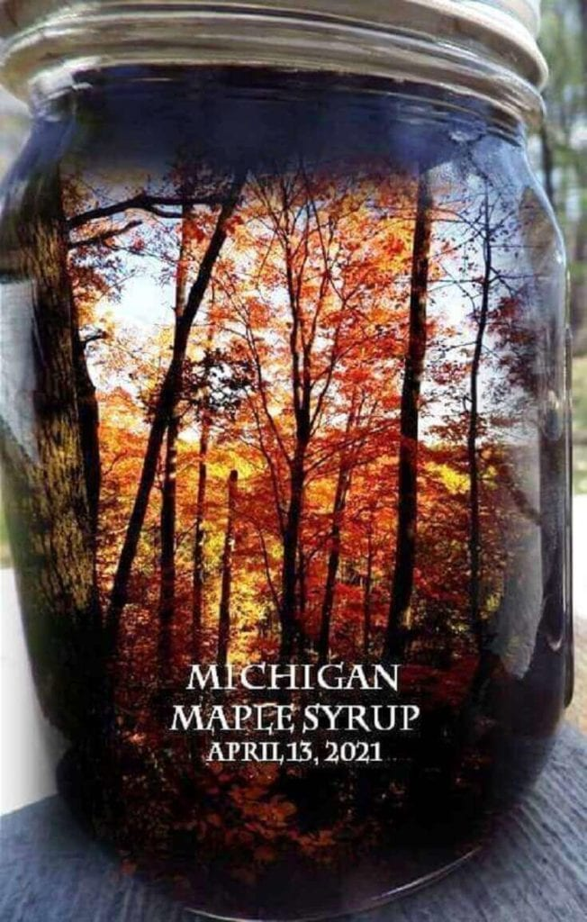 Jar of Syrup With Reflected Maples