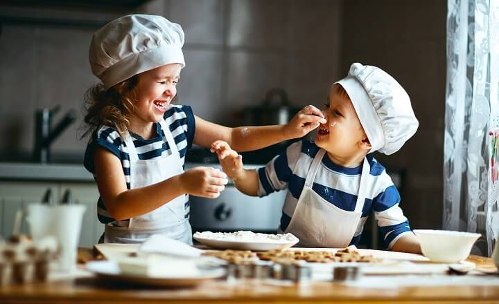 Kids Cooking And Playing