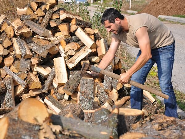 Man Chopping Firewood