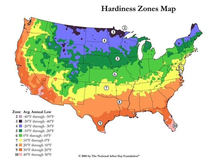 NOAA Zone Hardiness Map