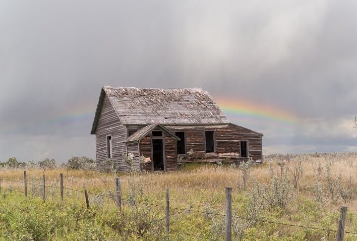 Old Far House Under Rainbow