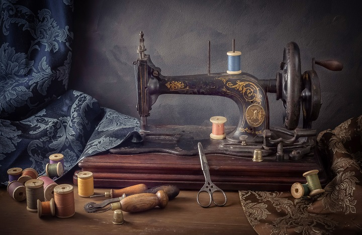 Old Sewing Machine And Supplies