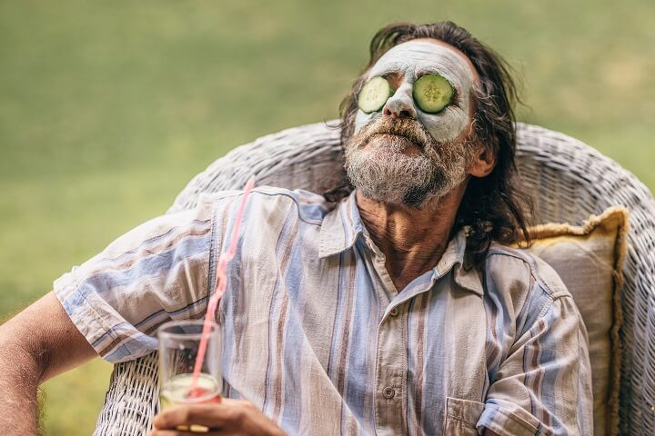 Retired Man With Cucumbers On His Eyes