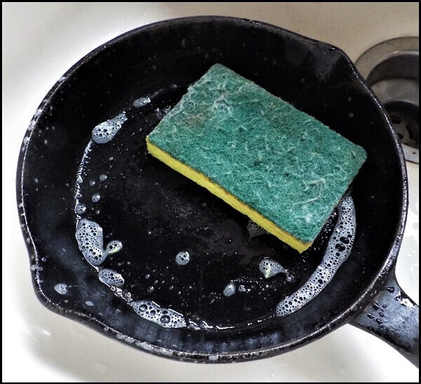 Scrub Pad and Detergent in Cast Iron