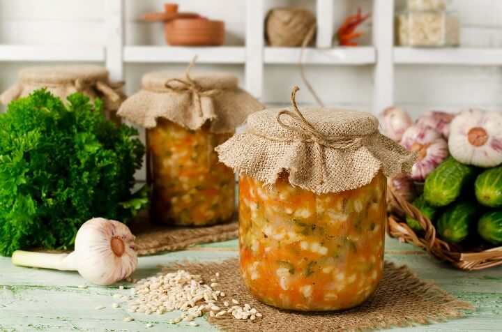Soup In Canning Jar On Table