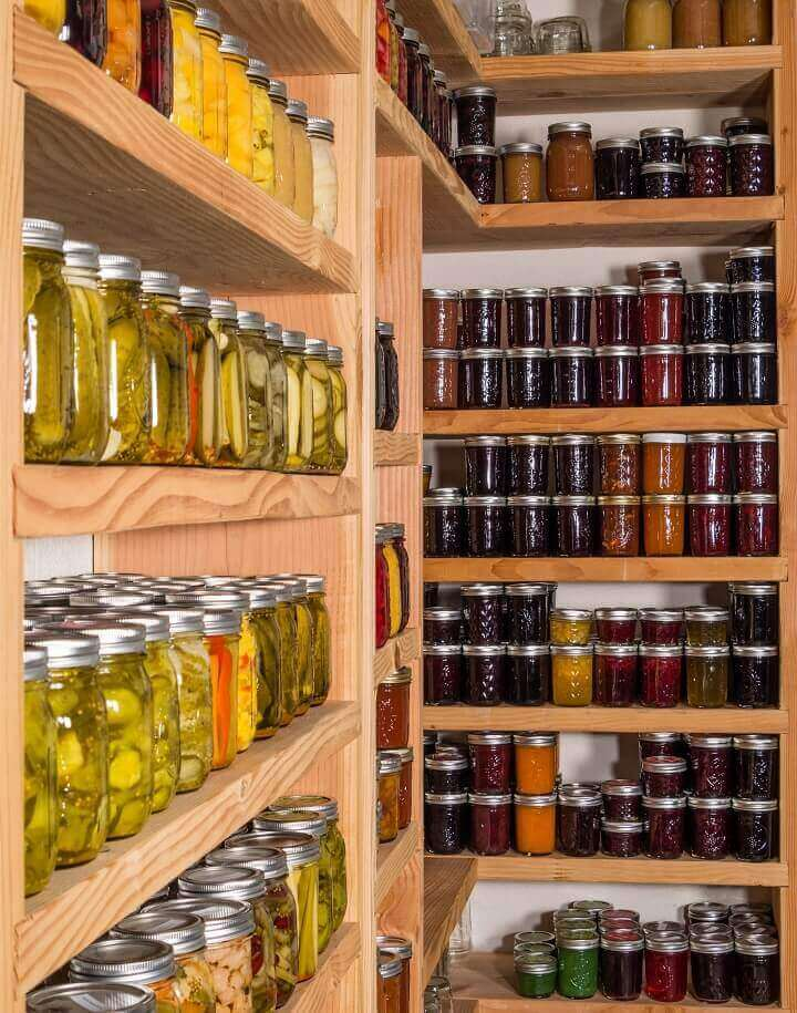 Storage Shelves With Canned Food