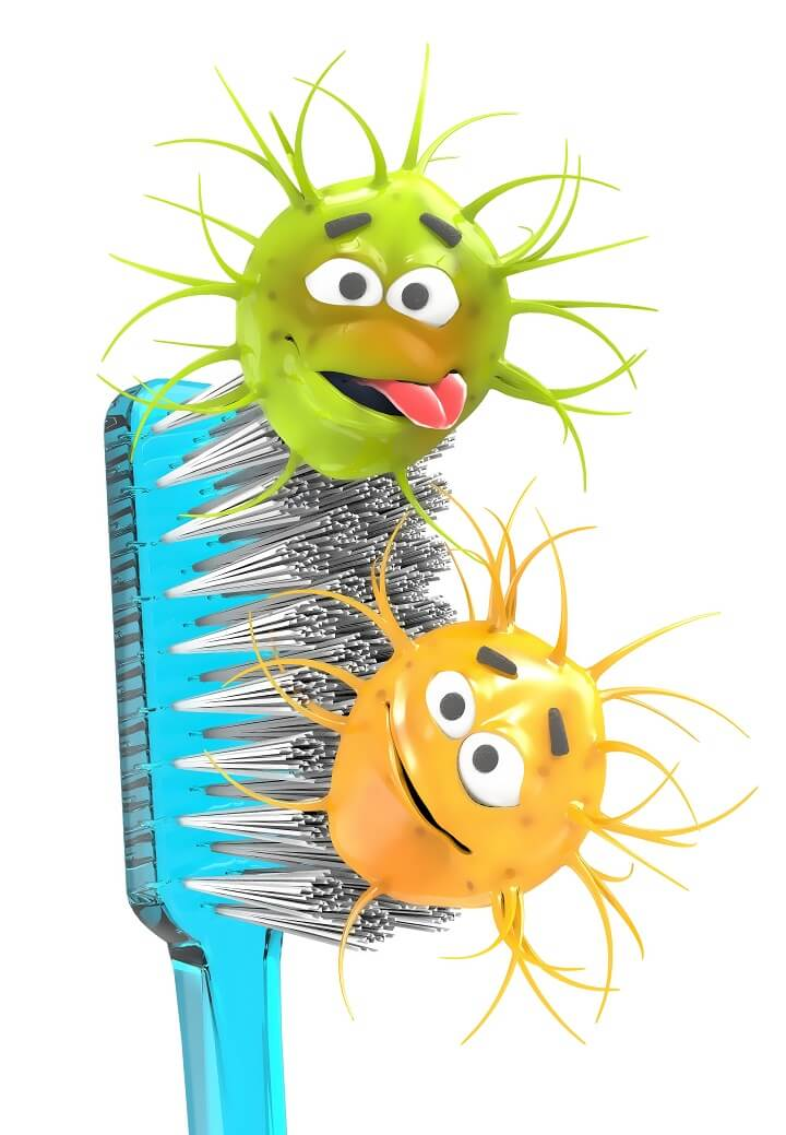 Toothbrush With Bacteria Cartoon