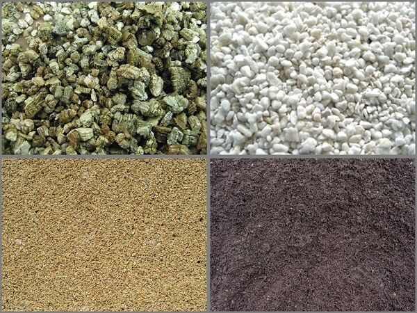 Vermiculite, Perlite, Sand, and Dirt