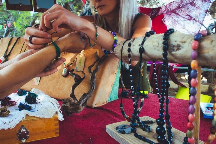 Woman Selling Homemade Jewelry