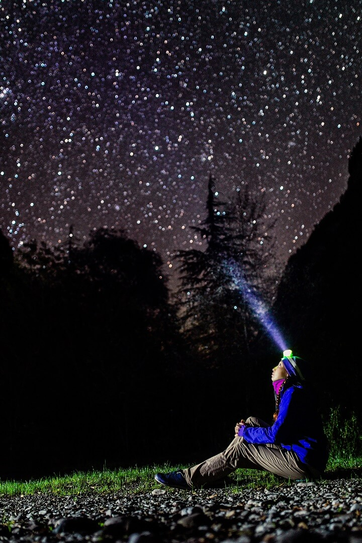 Woman With Headlamp Looking At Stars